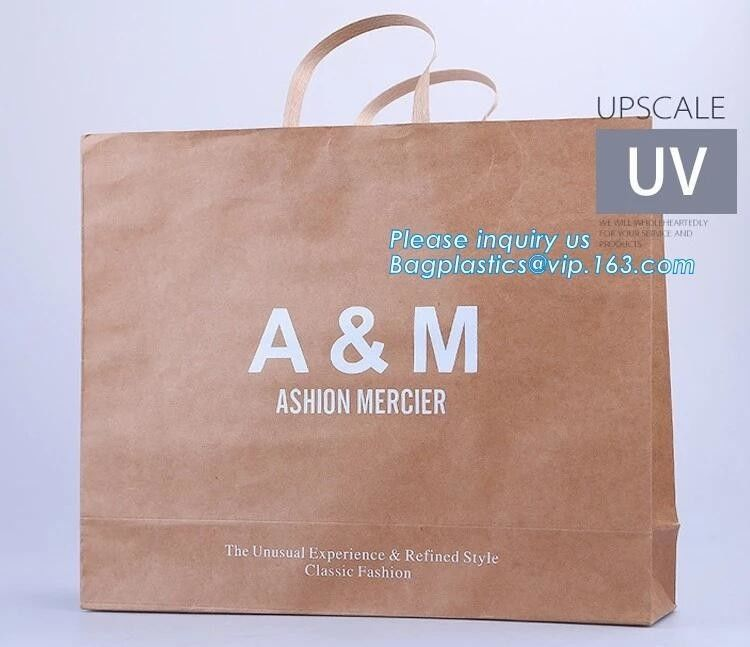 Paper Eco Retail Packaging Logo Printed Bagease Carrier Handle