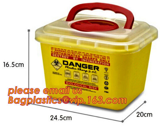 Medical Plastic Disposable Wall Mounted Un3291 Sharp Container, Disposable sharps container round sharp box medical wast